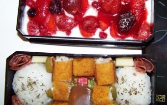 Bento 3 : onigiri et yaourt aux fruits rouges