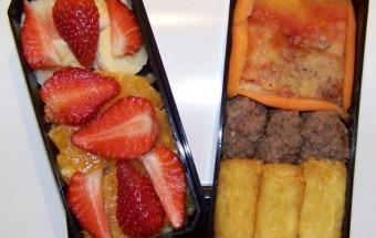 Bento 4 : pizza, viande et salade de fruits