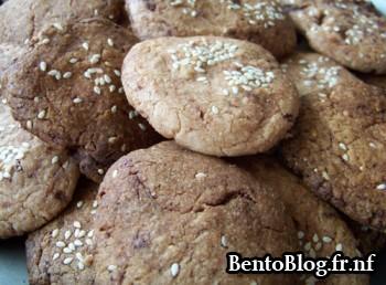 Cookies au chocolat et graines de sésame