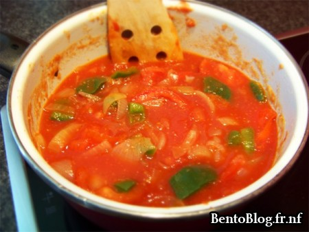 Velouté de tomates et poivron mijote