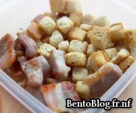 Bento #76 : croûtons et lardons pour le velouté de tomates et  poivron