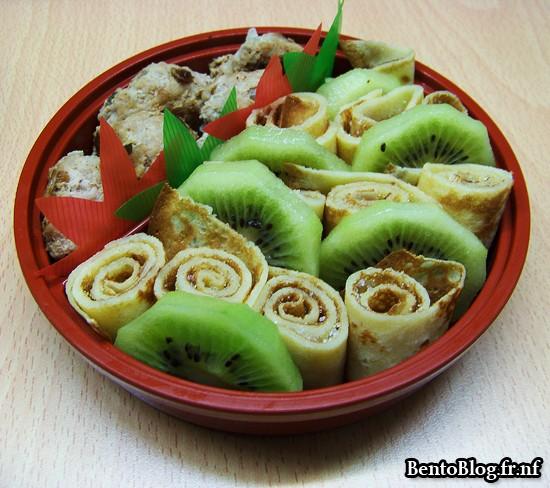 Bento #89 : boulettes de porc, kiwi et crêpes au sucre