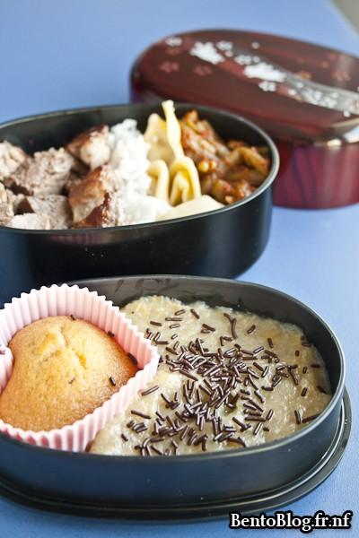 muffin aux pépites de chocolat et compote pomme banane gingembre