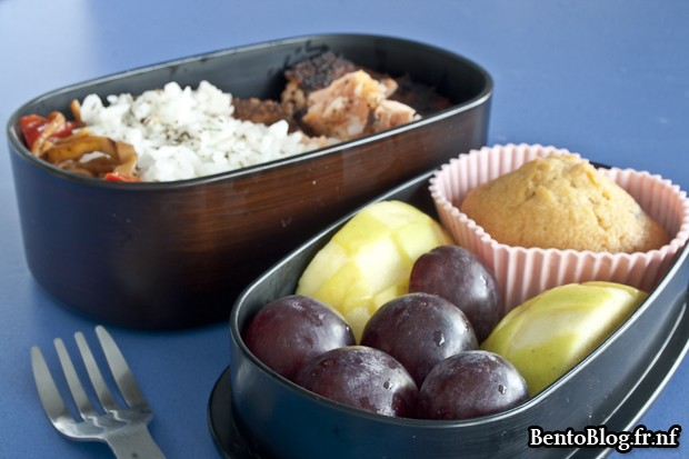 bento saumon pomme muffin
