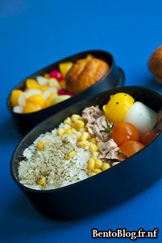 bento salade riz et thon destructurée