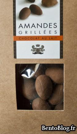 amandes grillées enrobées de chocolat