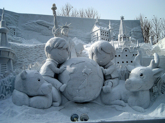sculpture neige enfants terre