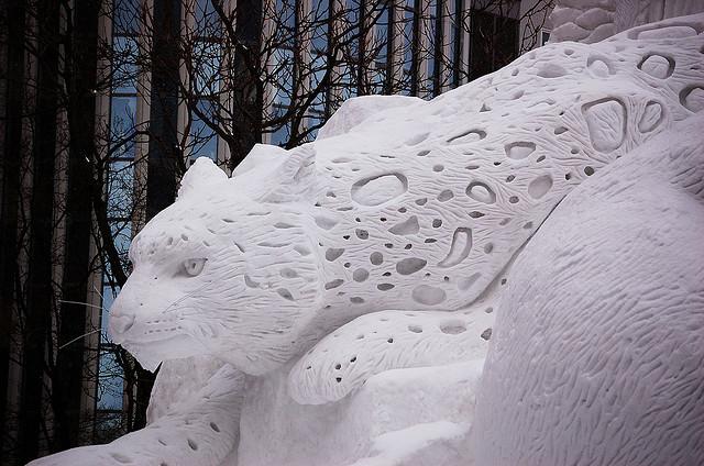 sculpture neige tigre