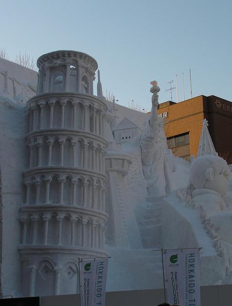 sculpture neige tour de pise