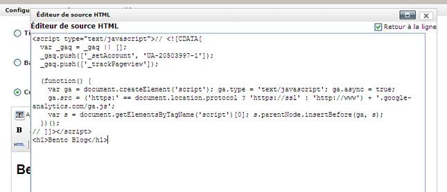 Installer code de suivi google analytics