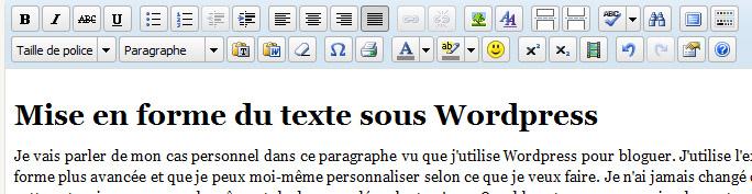 Mise en forme du texte avec WordPress
