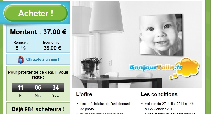 Groupon toile photo