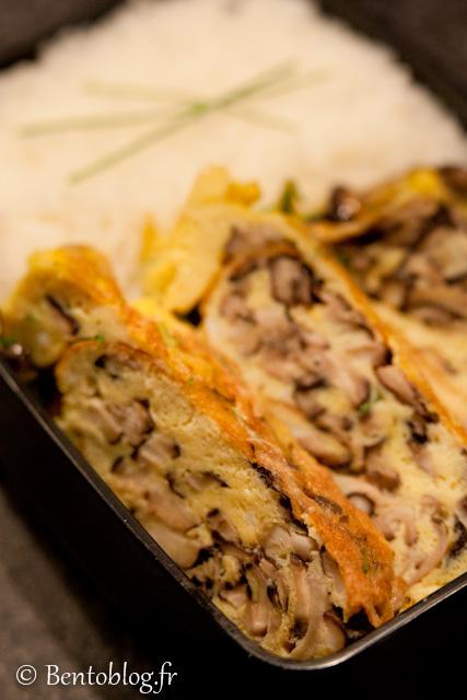 Bento omelette shiitake
