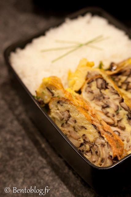 Bento omelette skitake