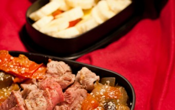 Bento gigot d'agneau, ratatouille tomate-aubergine