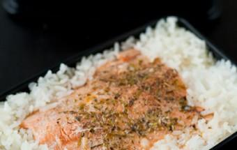 Bento saumon en papillote et riz